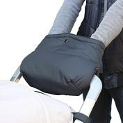 Dulcii Extra Thick Winter Stroller Hand Muff Outdoor Anti-freeze Waterproof Universal Baby Stroller Handle Warm Hand Gloves Muff – Black