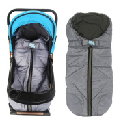 Dulcii Winter Outdoor Tour Infant Waterproof Baby Stroller Sleeping Sack Super Comfy Warm Pad Footmuff Bag Anti-kicking Newborn Swaddle Blanket for Kids - Grey