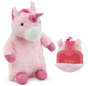 HomeTop Premium Classic Rubber Hot Water Bottle with Cute Unicorn Cover