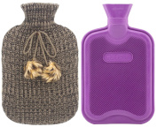 Premium Classic Rubber Hot Water Bottle and Blending Knit Cover with Pom Pom Decor