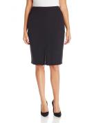 Kasper NEW Deep Black Womens Size Plus Straight Pencil Knit Skirt