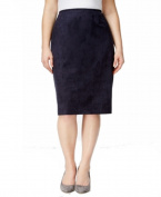 Tahari By ASL NEW Blue Women's Size 14W Plus Faux Suede Pencil Skirt
