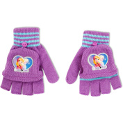 Disney Girls Frozen Princess Elsa And Anna Sisters Forever Acrylic Long Knit Cuffed Winter Magic Glomitts With Satin Applique Character Patch