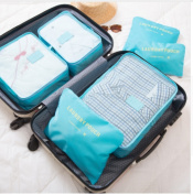 2017 6pcs/set Men and Women Luggage Travel Bags Packing Cubes Organizer Fashion Double Zipper Waterproof Polyester Bag  Light Blue