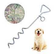 UEETEK Heavy Duty Dog Puppy Tie Out Stake Pet Leash Anchor Stake for Outdoors Yard Camping