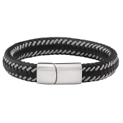 Stainless Steel Leather Wrap Bracelet