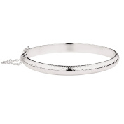 Sterling Silver Hollow Hinged Engraved Bangle 7mm