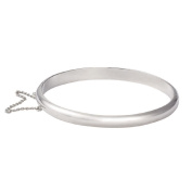 Sterling Silver Hollow Hinged Plain Bangle 7mm