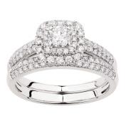 1 Carat of Diamonds 18ct Gold Diamond Square Halo Ring Set