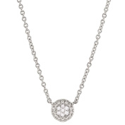 Giovani Sterling Silver Diamond Circle Shape Necklace