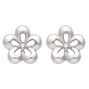 KIDZ Sterling Silver First Diamond Flower Earrings