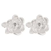 Sterling Silver Diamond Flower Cluster Earrings