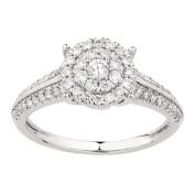 1/2 Carat of Diamonds 18ct Gold Diamond Double Halo Ring