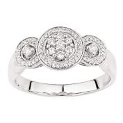 1/4 Carat of Diamonds 9ct Gold Diamond 3 Stone Halo Ring Size N