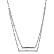 Giovani Sterling Silver Diamond Double Bar Necklace