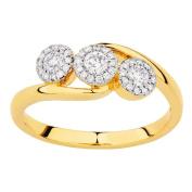 1/3 Carat of Diamonds 18ct Gold Diamond 3 Stone Halo Ring