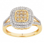 1/2 Carat of Diamonds 9ct Gold Diamond Brown Square Ring