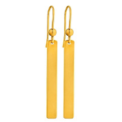 9ct Gold Solid Bar Drop Earrings
