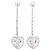 Sterling Silver Heart Drop CZ Earrings