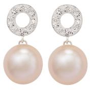 Sterling Silver Pearl Crystal Drop Stud Earrings