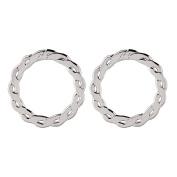 Giovani Sterling Silver Twist Circle Earrings