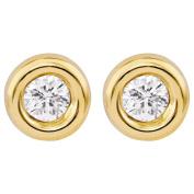9ct Gold CZ Fancy Bezel 3mm Earrings