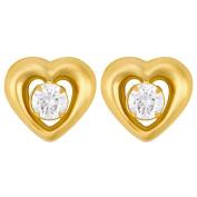 9ct Gold CZ Heart Stud Earrings