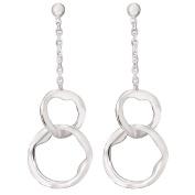 Sterling Silver 2 Loop Drop Modern Earrings