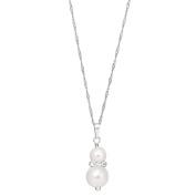 Sterling Silver Pearl Crystal Drop Pendant