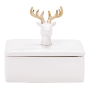 Living & Co Limited Edition Stag Trinket Box White/Gold