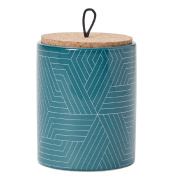 Living & Co Canister Ceramic Geometric Teal 13cm