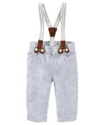 OshKosh B'gosh Baby Boys' Suspender Seersucker Striped Pants- 0-3 Months