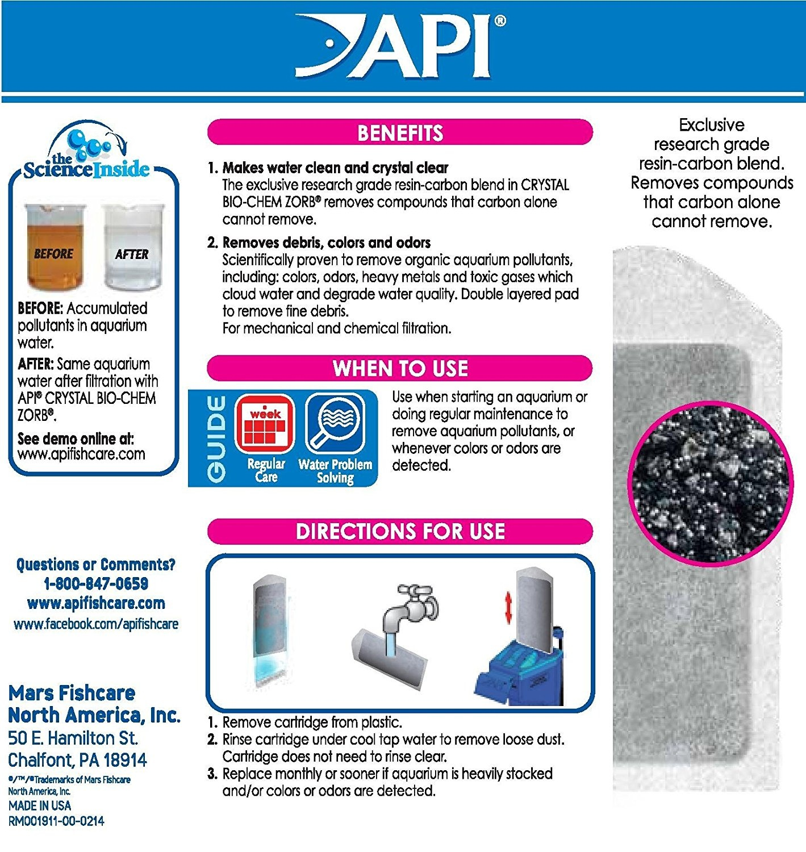 API CRYSTAL BIO-CHEM ZORB SIZE 10 Aquarium Filtration Media Cartridges