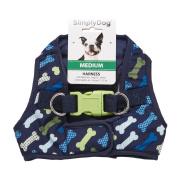 Simply Dog Navy Confetti Bone Print Vest Harness Medium