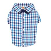 Simply Dog Tri Gingham Button Up Shirt Blue Medium