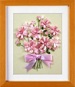 Ribbon embroidery Kit,Fanryn 3D Silk ribbon embroidery Pink bow Flowers pattern design Cross Stitch Kit Embroidery for beginner DIY Handwork Home Decoration Wall Decor 30x35cm