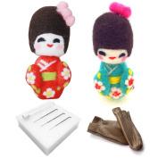Artec360 Traditional Japanese Kimono Needle Felting Kits, Merino Wool with 3 Needles, 1 Pair Leather Gloves, Foam Mat and Tutorial 2 Pack Felting Kit