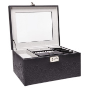 Rectangle Clear Top Black Jewellery Box