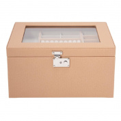 Jewellery Box Rectangle Clear Top Peach