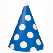 Royal Blue Polka Dot Party Hats, Pack of 8