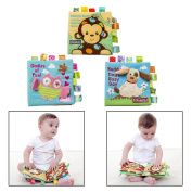 Itian Animal Cloth Book Baby Cloth Books Durable Fabric Activity Cloth Book Set Of 3 Fashion Non-toxic Soft Baby Early Education Cloth Books