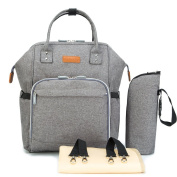 Fashion Mommy Baby Nappy Tote Bag, Eleoption Waterproof Casual Baby Care Nappy Bag Hot Mom Backpack Bag Large Capacity Multi-Function Travel Backpack with a Changing Pad, a Insulated Bottle Bag and Stroller Clips, Grey