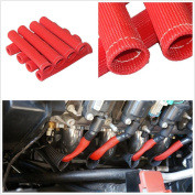 SUNDELY® Red Hi-Q 8-Pcs Red Spark Plug Wire Boot Heat Shield Insulator