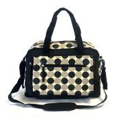 Laminated Black Cream Polka Dots Large Baby Nappy Nappy Changing Bags Bag 9071