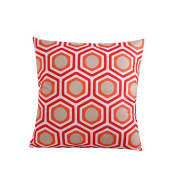 Hoomall Bohemia Sofa Squares Cushion Case Throw Pillow Cover without Core 46cm x 46cm Red Honeycomb