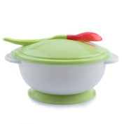Thermostability Baby Suction Bowl Spoon Set with Lid Scoop Anti-slip Design Infant Feeding Training Tableware