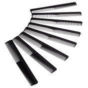 BBTO 8 Pack Black Plastic Hair Comb, Double Head Hair Cutting Combs Hairdressing Styling Tools for Salon or Hotel Hair Care