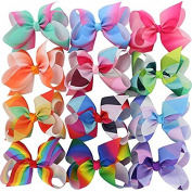 BIG Larger Grosgrain Ribbon Boutique 15cm Rainbow Hair Bows Clips For Baby Girls Teens Toddlers Gifts Set Of 12