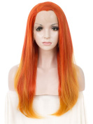 Imstyle Orange Two Tones Lace Front Wigs Long Straight Lace Wigs for Women Costume Cosplay Drag Queen