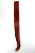 WIG ME UP ® - YZF-P2S25-35 1 x Two Clip Clip-In extension strand highlight straight micro clip, 8.9cm wide, 60cm long dark red